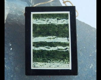 Green Zebra,White Jade,Black Stone Intarsia Pendant Bead,39x29x6mm,15.5g(e0473)