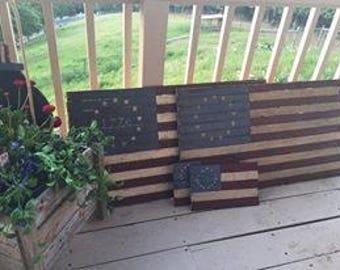Folk Art Flag, Primitive American Flag Wooden American Betsy Ross Flag 1776 flag