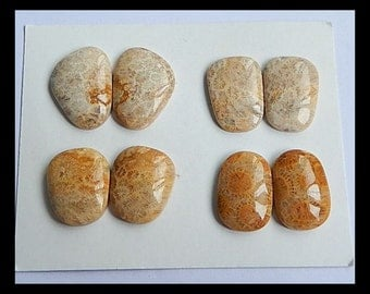 SALE,4 Pairs Indonesian Fossil Coral Gemstone Cabochons,29.8g