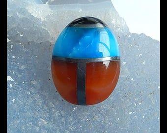 New,Red Agate,Hematite,Hemimorphite,Obsidian Intarsia Gemstone Cabochon,24x19x8mm,6.9g