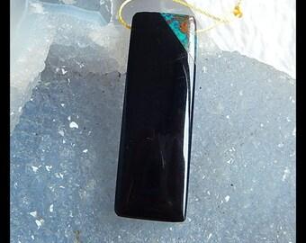 New Design!! Chrysocolla,Obsidian Intarsia Gemstone Pendant Bead,43x15x7mm,7.9g