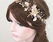 Gold Leaf Vine Bridal Headpiece. Boho Delicate Crystal Pearl wedding Wreath. Blush Halo Headband. Rhinestone Floral Hairpiece. BEA