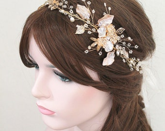 Gold Leaf Vine Bridal Headpiece. Boho Delicate Crystal Pearl wedding Wreath. Blush Halo Headband. Rhinestone Floral Hairpiece. BEA