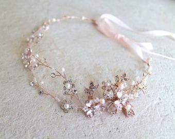 Rose gold or Gold Leaf Vine Bridal Headpiece. Boho Silver Crystal Pearl Wedding Wreath. Halo Headband. Rhinestone Floral Hairpiece. TEREZ