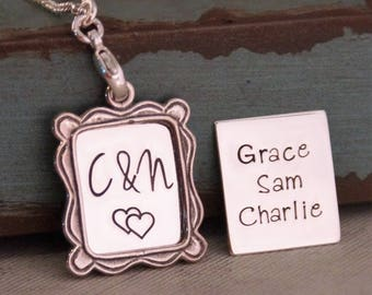 Personalized Mommy Necklace / Hand Stamped Jewelry / Sterling Silver / Portrait of my life (with kids names)