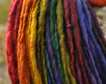 Handspun Art Yarn - Dark Glitter Rainbow. Self striping single ply aran - Hand dyed wool firestar sparkle custom skein Handmade TO ORDER
