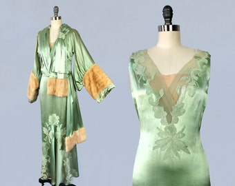 RARE 1930s Dress / 30s Gown and Jacket Set / Designer COUTURE by Bess Schlank / Celadon Green Liquid Satin