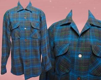 Plaid Wool Shirt, Mens Vintage 1960s Pendleton Plaid Button Down, Blue Green Tartan Plaid, Vintage Woolen Shirt, Stranger Things Clothing