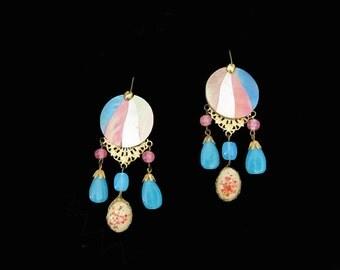 Spring Statement Earrings - One of a Kind Chandelier Earrings with Dyed Mother of Pearl - Spring Pastel Dangle Earrings - Long Wide Earrings