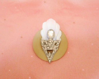 One of a Kind Art Deco Brooch - Carved Mother of Pearl - Deco Rhinestones - A Pin Made with Vintage