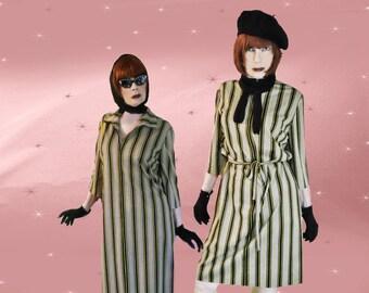 Plus Size Womens Vintage Shift Dress - 1960s Sack Dress - Knit Dress with Tie Belt - Zip Front Knit Dress - Retro Turtleneck Dress - Size 20
