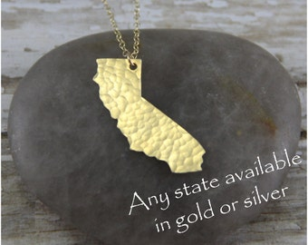 Gold California Necklace - Gold California State Necklace - Gold California Pendant - Going Away Gift - Bridesmaid Gift
