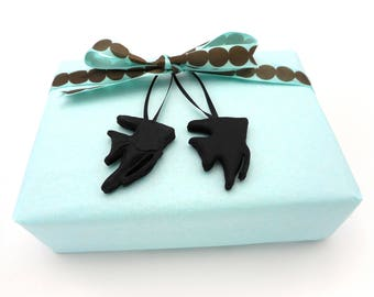 Black Angelfish Gift Wrap Add On, Unique Handmade Gift Tag Accessory, Fresh Water Angelfish Mini Keepsake Ornament