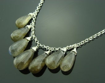 Genuine Flash Labradorite 925 Sterling Sliver Necklace