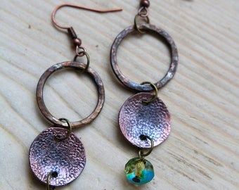 Unique fired copper earring with Czech glass