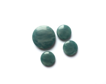 4 Emerald Green Vintage Plastic Buttons, 10mm, 18mm