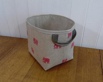 Pink Elephant Linen Large Storage Basket Box-linen lined