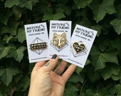 WWF FUNDRAISER - Seconds Pin - Hard Enamel Pin black and gold flair animal pin fox pin wolf pin coyote pin all the feels animal lover