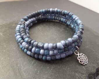 Memory Wire Bracelet with Sterling Silver Celtic Knot Charm and Blue Beads