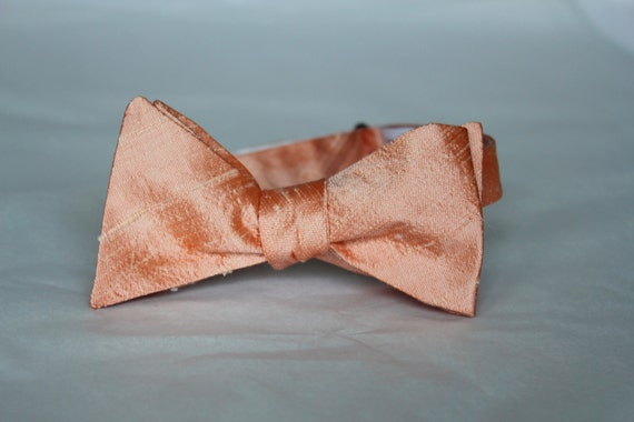 Bow Tie in Bright Peach Silk - self tying, pre-tied adjustable or clip on - wedding ties, ring bearer outfit