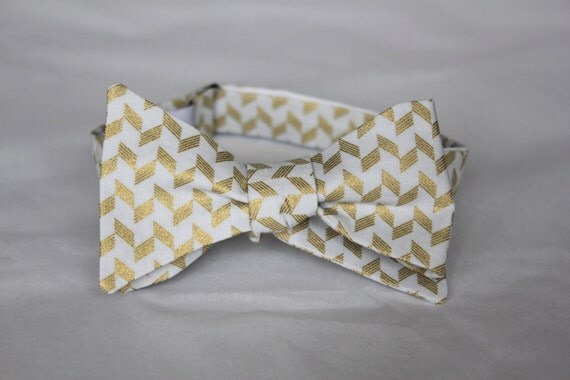 Wedding Bowtie in Gold and Gray Herringbone - Groomsmen and wedding tie - clip on, pre-tied with strap or self tying