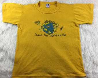 Russel Youth Size L Save The world For Me Graphic T- Shirt Short Sleeve Top