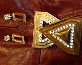 ART DECO Rhinestone Gold Tone Vintage Belt Buckle Earrings Jewelry Set Bold Statement Retro Mod Hip Hop Fresh