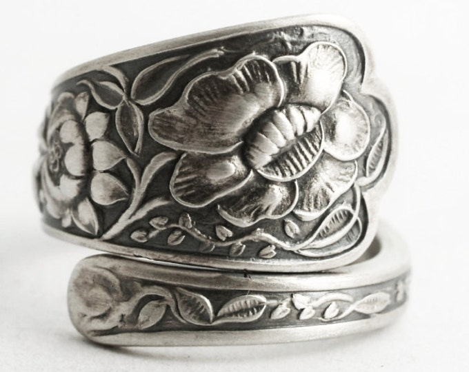 Antique Wild Flower Ring, Sterling Silver Spoon Ring, Wedding Ring Alternative, Handmade Gift, Botanical Jewelry, 925 Adjustable Size (6616)