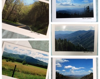 Set of 5 Smoky Mountain Notecards benefiting Gatlinburg Relief Fund / 5 USD of each set to be donated / Save The Smokies / Gatlinburg Strong