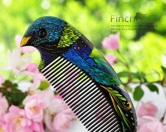 hand-print boxwood Comb bird wedding gift