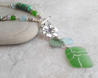 Lariat, green beach glass necklace, flower, summer fashion, mothers day gift, birthday gift for her, sky blue and green, beach wedding, wife