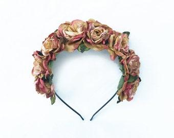 Rose Gold, Flower Headband - Vintage Inspired Rose Crown, Rose Gold, Bridal Flower Crown, Floral Headband, Gold Crown, Gold Flower Crown
