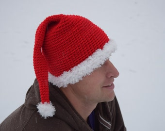 crochet santa hat adult//teenager//women//men