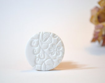white clay brooch with delicate lace imprint - white clay textured brooch - white floral lace imprint brooch pin - unique  gift for her