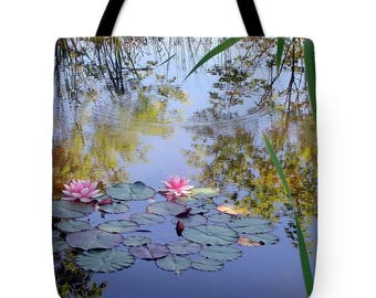 Water Lilies  Tote Bag, Grocery Tote Bag, Flower Tote Bag,  Summer Tote Bag, Beach Tote Bag, Patrushka Flower Totes, FREE SHIPPING USA