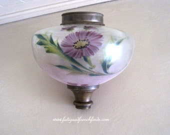 Antique French Oil Lamp Hand Painted Glass Fuel Reservoir Chamber