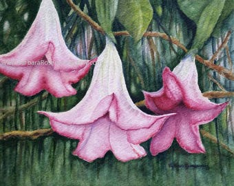 Tropical Flower Print, Tropical Flower Watercolor Painting, Beach Decor, Home Decor Art, Beach Wall Art, Flower Art, Angel's Trumpet Art