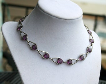Vintage Purple Crystal Art Deco Necklace