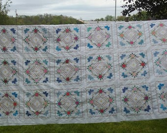 Quilt Top ONLY, Hand Embroidered, Flowers, Butterfly, Blocks, Handmade