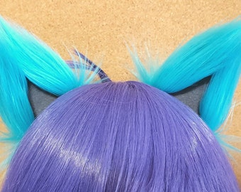 Turquoise and Gray Clip on Cat Ears