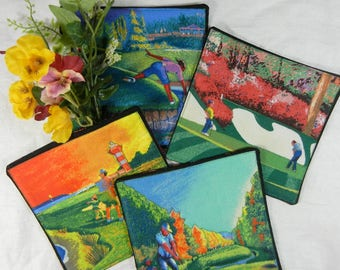 Quilted Coasters Set #1 - Golfing, Multicolor