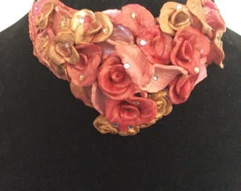 Polymer clay floral assemblage statement necklace