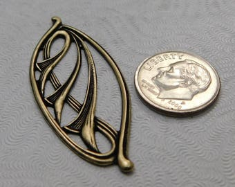 LuxeOrnaments Oxidized Brass Filigree Art Nouveau (Qty 1) 46x20mm AT-830-B