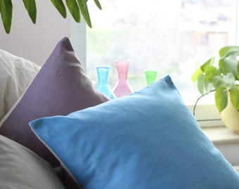 Blue pillow - organic cotton pillow with natural linen, light blue or sky blue pillow in modern style, eco friendly decor