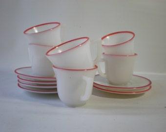 Vintage Red Stripe Set of 6 Milk Glass Demitasse Cups and Saucers