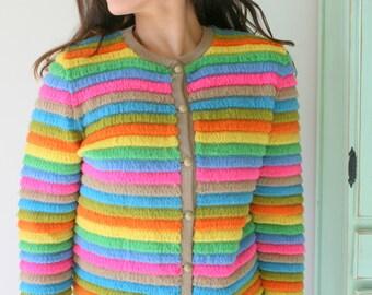 1960s RAINBOW Sweater...unicorn. colorful. bright. retro. striped. rainbow. 1960s sweater. rad. fun. crop sweater. knit sweater. bright