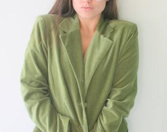 Vintage Olive VELVET Mid Century Cardigan Sweater....size medium large. designer. retro. mod. green sweater. cute buttons. nautical. preppy
