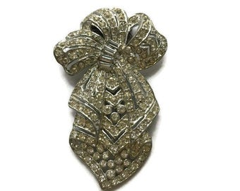 Vintage Art Deco Bridal Dress Clip Bow Rhinestone Pot Metal