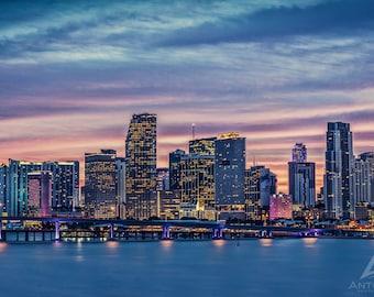 Miami Skyine Photography - Miami Skyline at Sunset, London Art, Miami Florida Print, Miami Skyline Photography
