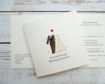 Bride and Groom Wedding/Evening Invitations